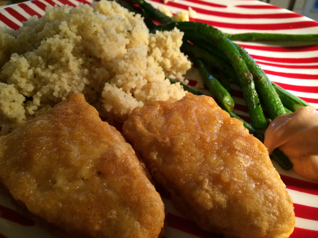 Vegan fish filets with roasted asparagus and couscous for Fish and asparagus