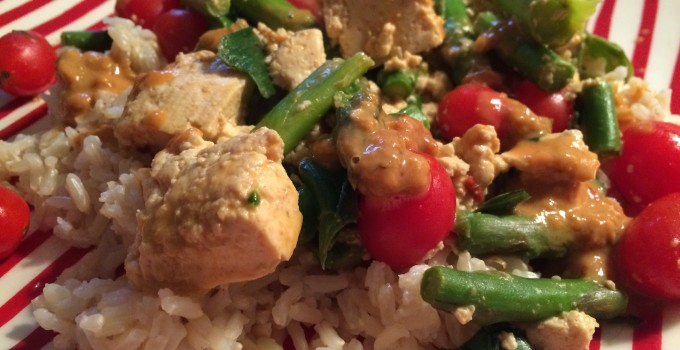 Thai Peanut Bowl With Tofu and Asparagus.
